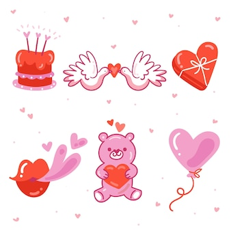 Hand gezeichnete valentinstagselementpackung
