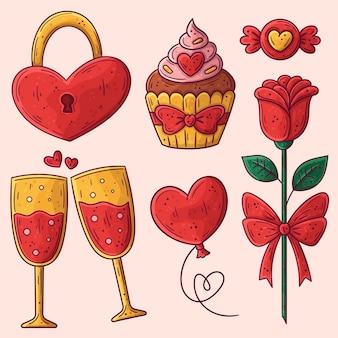 Hand gezeichnete valentinstagselementsammlung