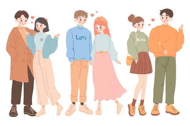 Hand gezeichnete valentinstagspaarsammlung