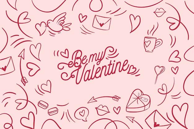 Hand gezeichnete valentinstagtapete