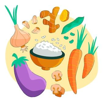 Hand gezeichnete vegetarische lebensmittelkollektion des flachen designs