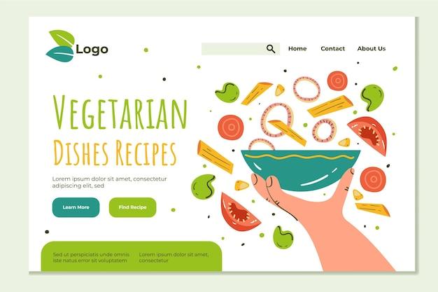 Hand gezeichnete vegetarische nahrungsnetzschablone