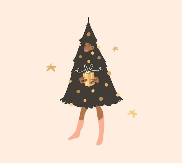 Hand gezeichnete vektor abstrakte flache vorrat moderne grafik frohes neues jahr und frohe weihnachten illustration...