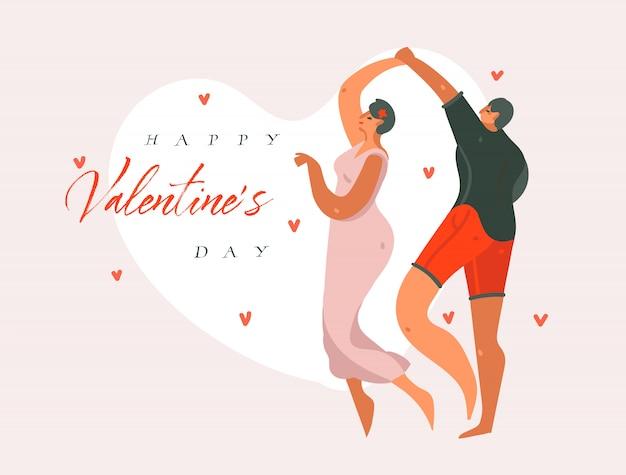 Hand gezeichnete vektor abstrakte karikatur moderne grafik happy valentines konzept illustrationen kunstkarte mit tanzenden paar menschen zusammen und happy valentines tag text isoliert auf rosa pastell hintergrund