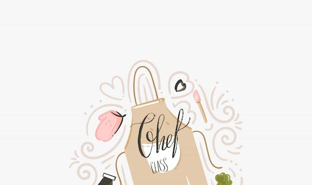 Hand gezeichnete vektor abstrakte moderne karikatur kochklasse illustrationen mit kochschürze, utensilien und handgeschriebene moderne kalligraphie der chefklasse lokalisiert auf weißem hintergrund