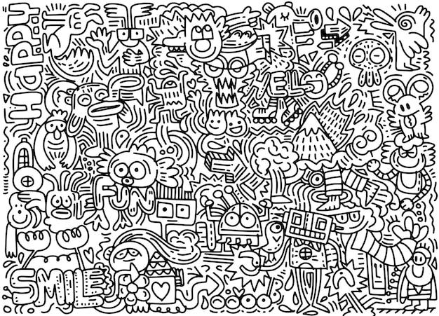 Hand gezeichnete vektor-illustration der lustigen welt des gekritzels