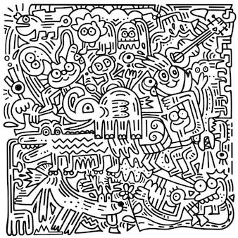 Hand gezeichnete vektor-illustration des lustigen tieres des gekritzels