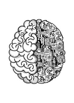 Hand gezeichnete vektor-illustration des menschlichen maschinengehirns