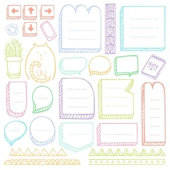 Hand gezeichnete vektorelemente des aufzählungsjournals für notizbuch, tagebuch und planer. doodle frames set isoliert.