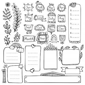 Hand gezeichnete vektorelemente des aufzählungsjournals für notizbuch, tagebuch und planer.