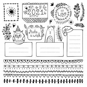 Hand gezeichnete vektorelemente des aufzählungsjournals für notizbuch