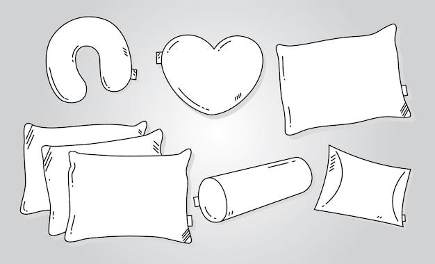 Hand gezeichnete vektorillustration des kissens