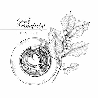 Hand gezeichnete vektorkaffeetasse von oben