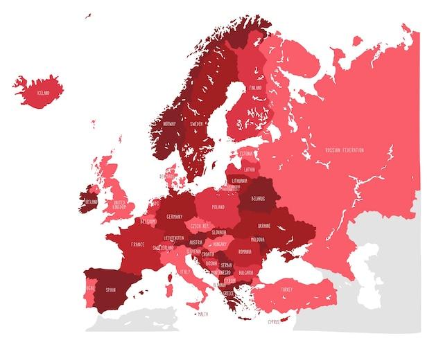 Hand gezeichnete vektorkarte von europa in den roten schatten