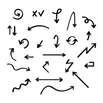 Hand gezeichnete vektorpfeilsammlung, skizzierter stil.