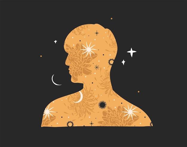 Hand gezeichnete vektorzusammenfassungslager flache grafische illustration mit logoelementböhmische astrologie magie...