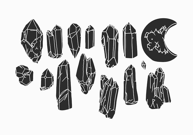 Hand gezeichnete vektorzusammenfassungsvorrat flache grafikillustrationen sammlung eingestellt mit logoelementenböhmen...