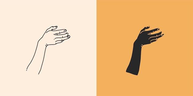 Hand gezeichnete vektorzusammenfassungsvorrat flache grafische illustration mit minimaler logoelementsammlung seto...
