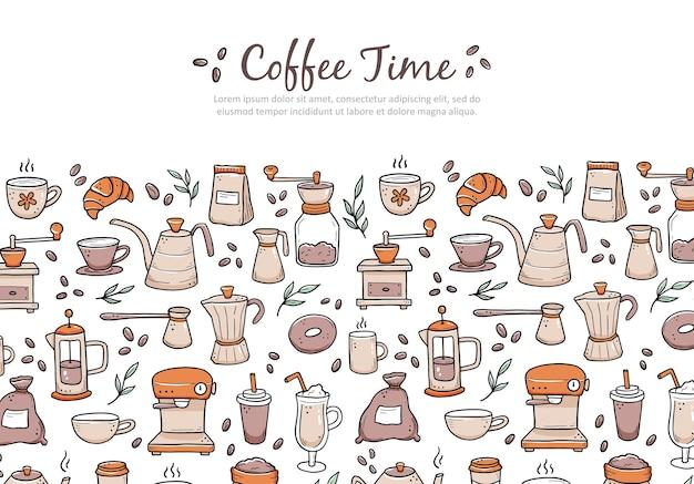 Hand gezeichnete verschiedene kaffeemaschinen