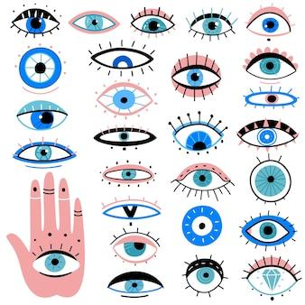 Hand gezeichnete verschiedene talismane