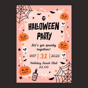 Hand gezeichnete vertikale plakatschablone der halloween-party