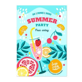 Hand gezeichnete vertikale plakatschablone der sommerfeier Kostenlosen Vektoren