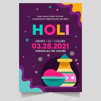 Hand gezeichnete vertikale plakatschablone des holi-festivals
