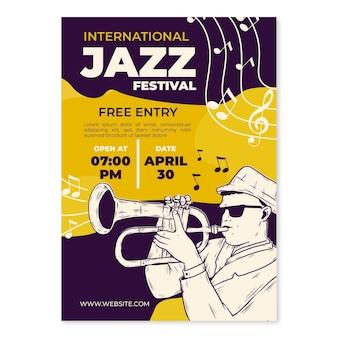 Hand gezeichnete vertikale plakatschablone des internationalen jazz-tages