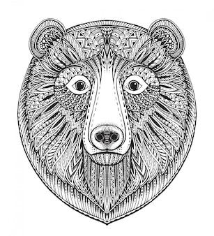 Hand gezeichnete verzierte gekritzelgrafikschwarzweiss-bärengesicht.