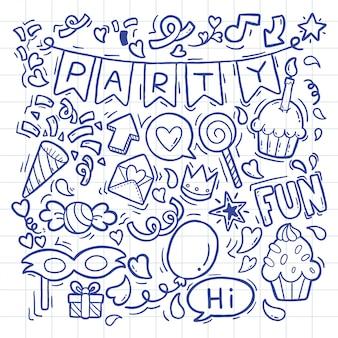 Hand gezeichnete verzierungen alles gute zum geburtstag des partygekritzels