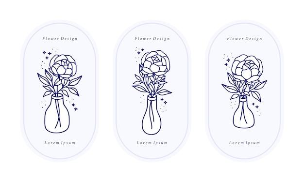 Hand gezeichnete vintage blaue botanische rose, pfingstrosenblumenlogoschablone, flasche und weibliche schönheitsmarkenelementkollektion