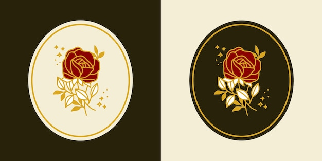 Hand gezeichnete vintage botanische rosenblumenlogoschablone und weibliches schönheitsmarkenelementsatz