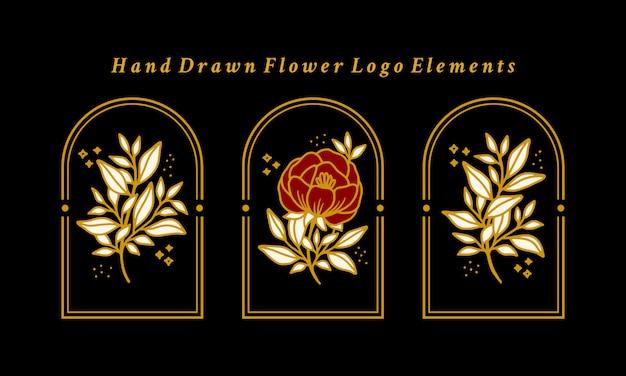 Hand gezeichnete vintage gold botanische pfingstrosenblume logo element sammlung