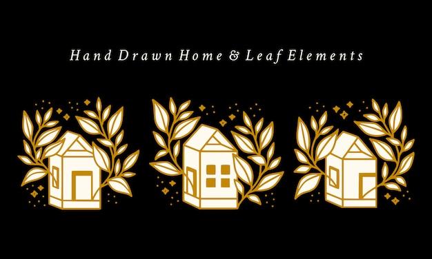 Hand gezeichnete vintage haus und botanische blumenlogo-elementkollektion