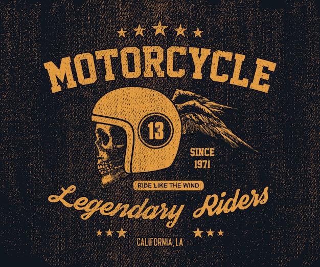 Hand gezeichnete vintage motorrad illustration