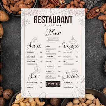 Hand gezeichnete vorlage des restaurantmenüs