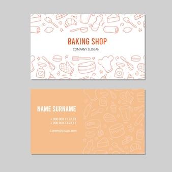 Hand gezeichnete vorlage mit back- und kochwerkzeugen, mixer, kuchen, löffel, cupcake, skala. gekritzel-skizzenstil. illustration für bäckerei, bäckerei visitenkartenentwurf.