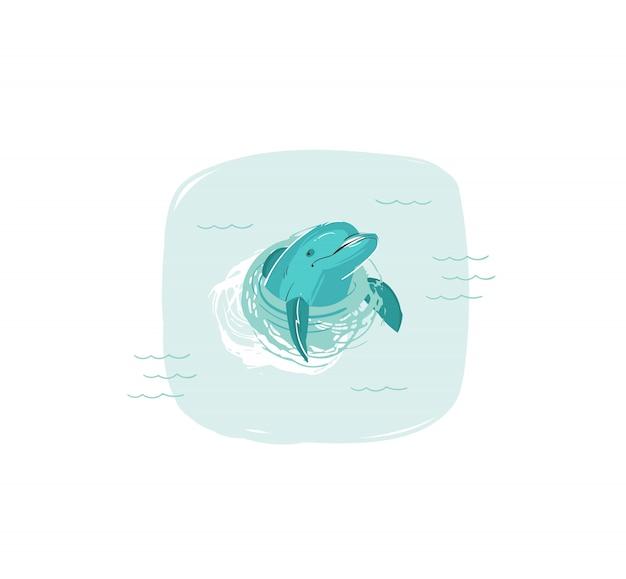 Hand gezeichnete waschbär-sommerzeit-spaßillustration mit dem schwimmenden delphin in den blauen ozeanwellen auf weißem hintergrund