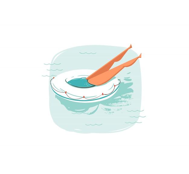 Hand gezeichnete waschbär-sommerzeit-spaßillustrationsikone mit schwimmendem mädchen auf bojenring schweben in blauen ozeanwellen auf weißem hintergrund