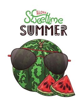 Hand gezeichnete wassermelone. schriftzug: aloha süße zeit sommer.