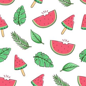 Hand gezeichnete wassermelonen- und monstera-blätter in nahtlosem muster