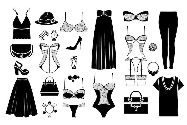 Hand gezeichnete weibliche modische kleidung. weibliches tuch, modehandtasche, unterwäsche handgezeichnet. vektorillustration