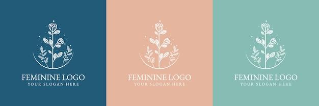 Hand gezeichnete weibliche schönheit und blumen botanische logo-vorlage für spa-salon haut- und haarpflege