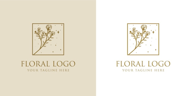 Hand gezeichnete weibliche schönheit und blumen botanischer logo rahmen für spa salon haut haarpflege