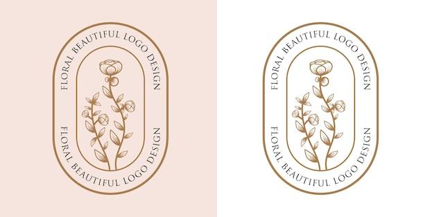 Hand gezeichnete weibliche schönheit und floraler botanischer logo-rahmen für haut- und haarpflege im spa-salon