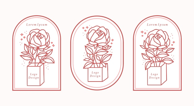 Hand gezeichnete weibliche schönheitslogoelement-sammlung mit botanischer rosenblume