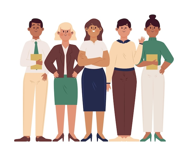 Hand gezeichnete weibliche teamleiterin in einer gruppe von verschiedenen personen