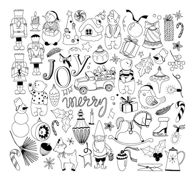 Hand gezeichnete weihnachten clipart doodle weihnachtsset vintage weihnachtsspielzeug umriss