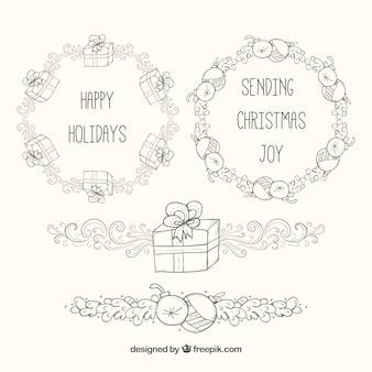 Hand gezeichnete weihnachts label kollektion
