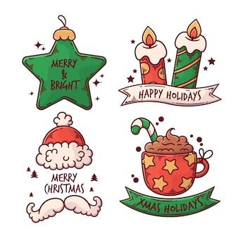 Hand gezeichnete weihnachtsabzeichen-sammlung